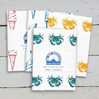 Crab Tea Towel in Blue | Cotton Tea Towel | Sophie Mutter